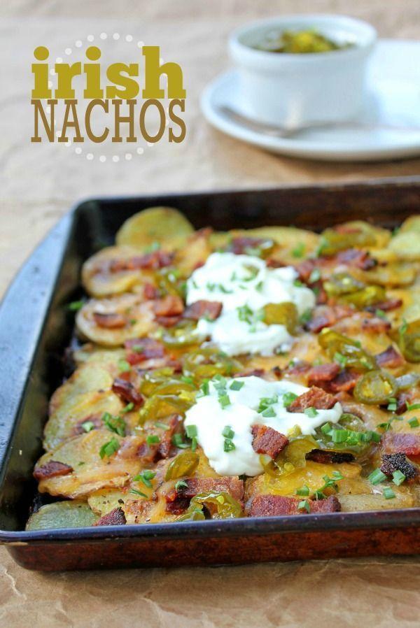 Irish Nachos -- A simple twist on the traditional nacho. Potatoes + bacon + nacho toppings. Delicious!