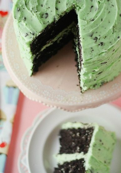 Sink your teeth into this delicious Mint Chocolate Chip Cake -- such an easy dessert recipe!