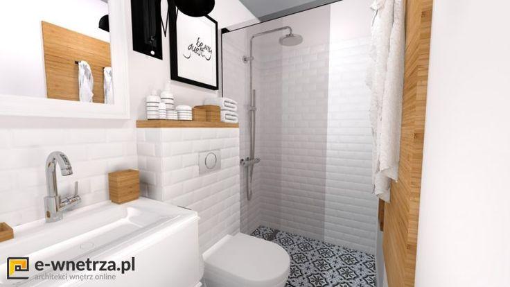Marokanska mini łazienka 1 :) Biel przełamana jest  dodatkami z drewna oraz wzorzystą podłogą w stylu marokańskim. Pomieszczenie jest niezwykle małe, dlatego dodaliśmy jasne kolory oraz niewielkie wymiary kafli ściennych i podłogowych. Drzwi do kabiny zastanawialiśmy przesuwne, gdyż inne były by uciążliwe w użytkowaniu (ze względu na WC)