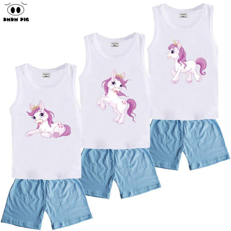 DMDM PIG Kids Clothes Boys 2017 Baby Boys Girls Summer T-Shirt + Short Pants Set Fashion Children Clothing Sports Suit For Boy
