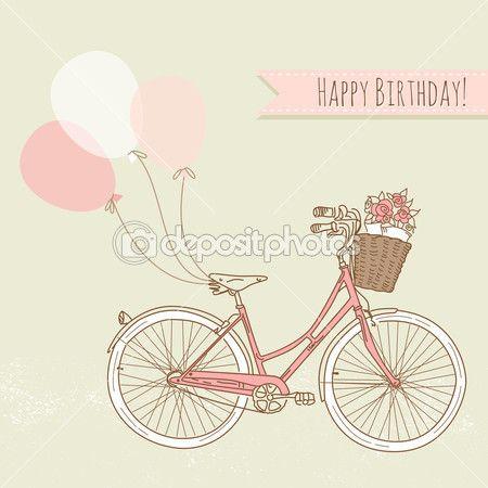 bicicleta com balões e uma cesta cheia de flores, cartão de aniversário romântico — Ilustração de Stock #16791815