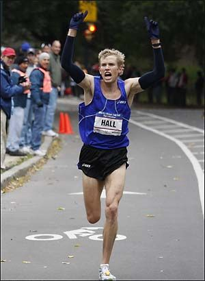 Ryan Hall winning the 2008 US Olympic marathon trials