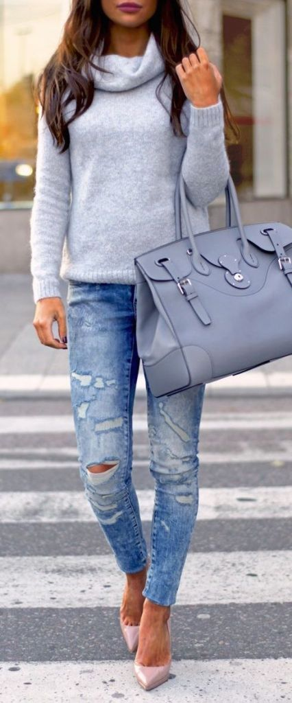 #fall #outfits / gray turtleneck knit