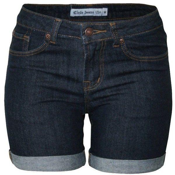 Cielo Women's Basic 5 Pocket Sexy Denim Shorts, Mini Skirt, Bermuda's ($20) ❤ liked on Polyvore featuring shorts, sexy shorts, denim short shorts, bermuda shorts, bermuda jean shorts and 5 pocket shorts