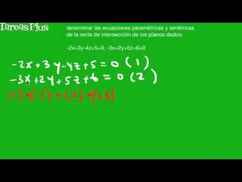 Encontrar ecuación paramétrica y simétrica de la recta de intersección de dos planos