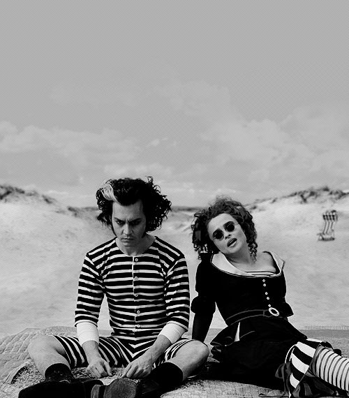 Johnny Depp & Helena Bonham-Carter on the set of Sweeney Todd