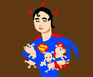 Superman loves the three little piggies