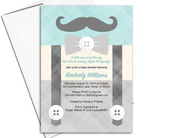 Little man baby shower invitation for boys | suspenders and mustache baby shower invites | printable or printed - WLP00771