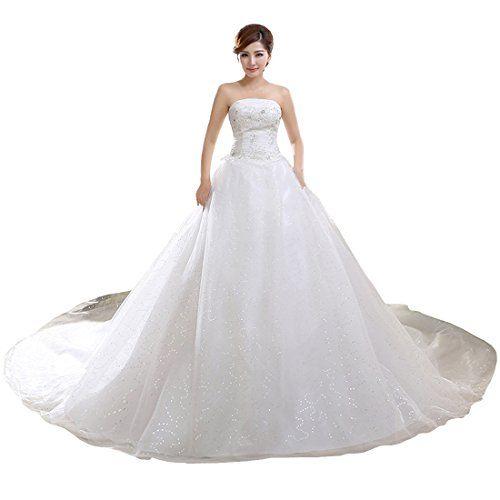 Train Brautkleid Spitzen Hochzeit Kleid Abendkleid,Tag L/EU S,Beige ...