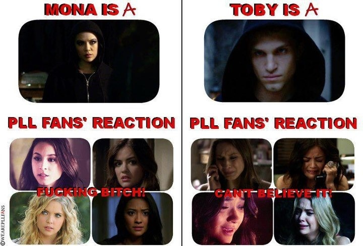 Mona is A. Toby is A. Pretty Little Liars. Still a Toby fan though. I think he did it to protect Spencer.