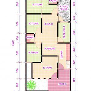denah rumah 6 x 12 3 kamar tidur
