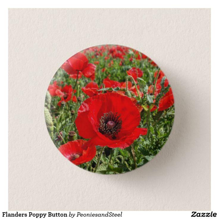 Flanders Poppy Button