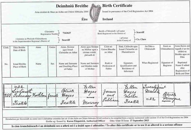 111-year-old Syracuse Irish woman the longest-living person in Irish history (Birth certificate for Kathleen Hayes, b. February 16, 1902)