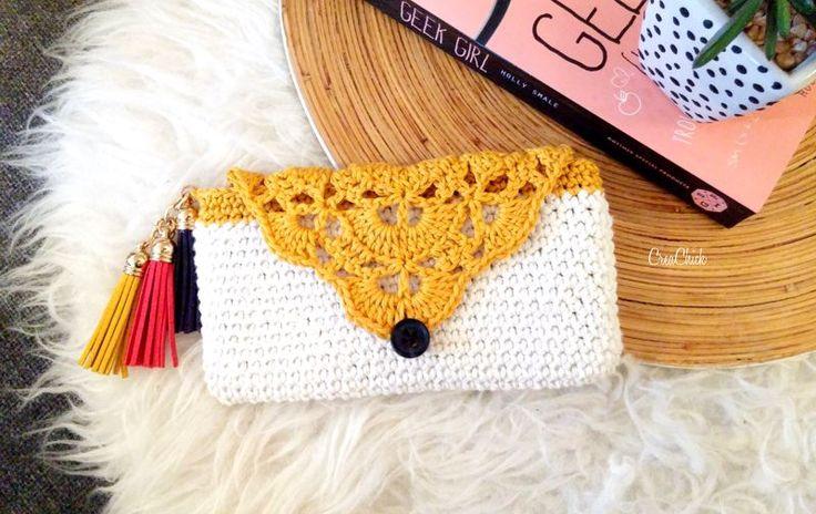 Crochet boho phone case. Free pattern. telefoonhoesje / portemonnee haken. Boho style. Gratis patroon.