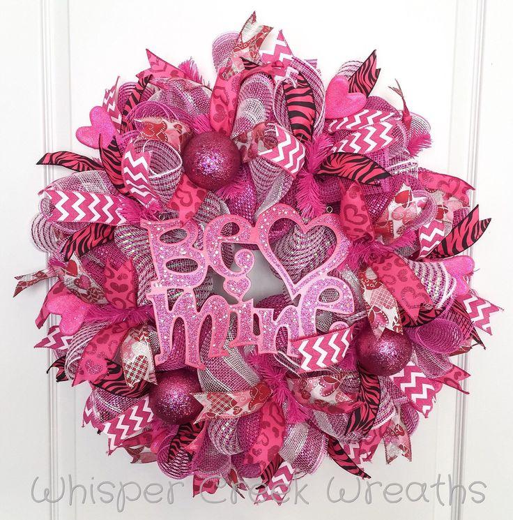 "Valentines Day Deco Mesh Wreath, ""Be Mine"" Valentines Day Wreath, Hot Pink, Chevron, Front Door Wreath Valentine, Valentines Day Decorations by WhisperCreekWreaths on Etsy https://www.etsy.com/listing/264812742/valentines-day-deco-mesh-wreath-be-mine"