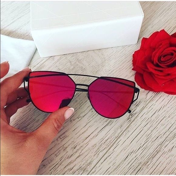 Mirrored Black & Red Sunglasses (case included) • metal, mirrored sunnies   • reflective  • flat lenses are orange/red-ish color  • 100% brand new & high quality  • unbranded   as seen on multiple beauty & fashion bloggers   ❌NO TRADES❌ ❌NO LOWBALLS❌ ❌NO ️️❌  ✨BUNDLE 2+ ITEMS TO SAVE✨ Accessories Sunglasses