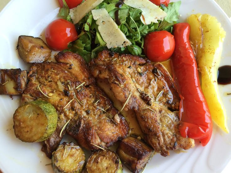 Sauteed roasted pork pancetta, grilled vegetables, green salad & cherry tomatoes #yummyfood #homemadecooking #recipe #greece