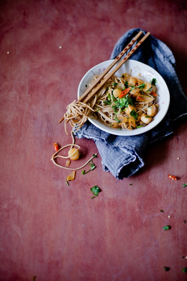 Soba Noodles with Scallops in Wine Sauce | Sunshine and Smile