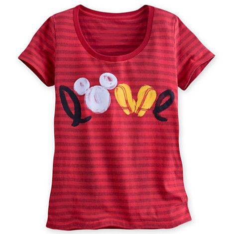 7/8: Mickey Mouse Icon Striped Tee for Women