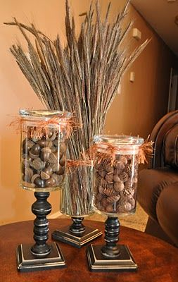 Fall Apothecary Jars  http://theautocrathaley.blogspot.com/2011/09/mini-fall-burlap-banner.html