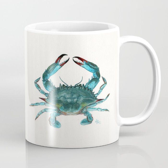 Society6   Blue Crab Watercolor Mug by Amber Marine   ••• AmberMarineArt.com •••