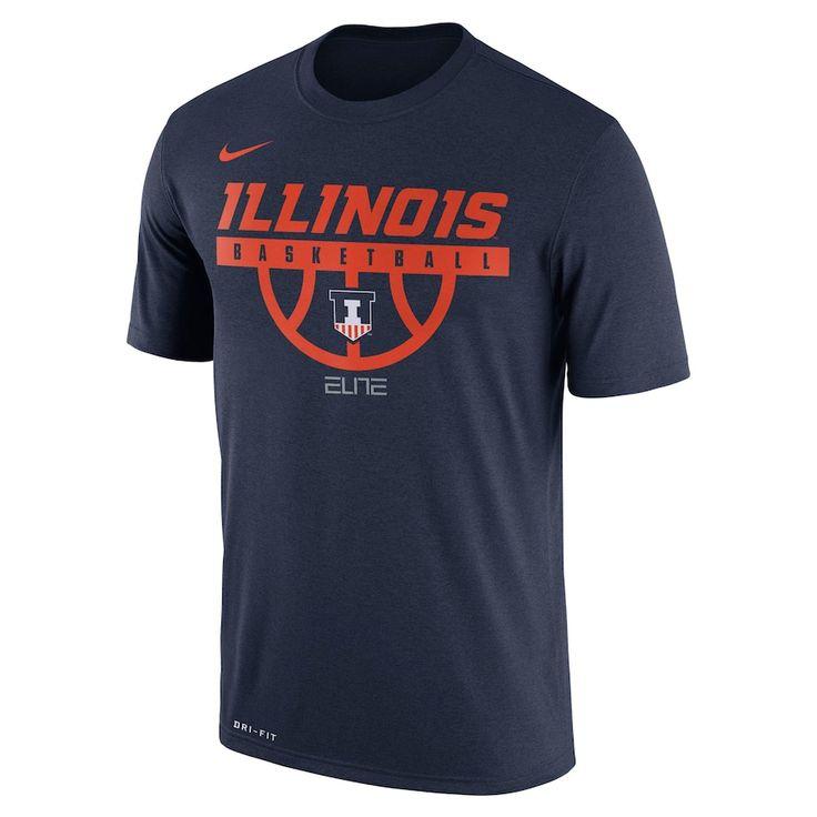 Men's Nike Illinois Fighting Illini Dri-FIT Basketball Tee, Size: Medium, Blue (Navy)