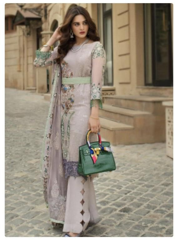 4a0884b4dc Size Chart 3 Piece Embroidered Unstitched Suits from Ayesha Ibrahim Luxury Embroidered  Chiffon Collection Manufacturer: Ayesha Ibrahim by ZS Material: ...