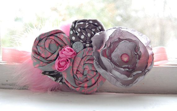 Rosette Headband in Pink and Gray  Fabulous by LittleLadyAccessory