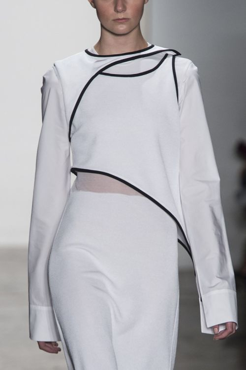Structured dress with contrasting trim; sporty fashion details // Louise Goldin Spring 2014
