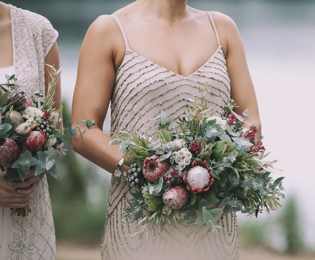 April Wedding Protea, Brunia, Eucalyptus foliage