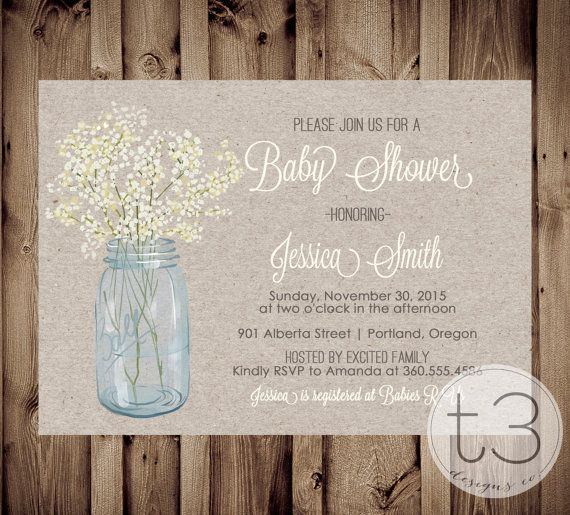 Country Baby Shower Invitation rustic baby shower by T3DesignsCo