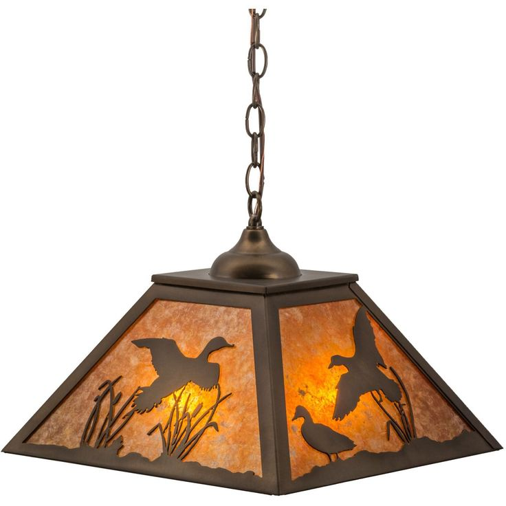 16 Inch Sq Ducks In Flight Pendant Ducks fly and waddle about the cattails and marshgrasses in this wildlife inspired original lighting fixture. Beautiful ambient lighting is projected through stunnin