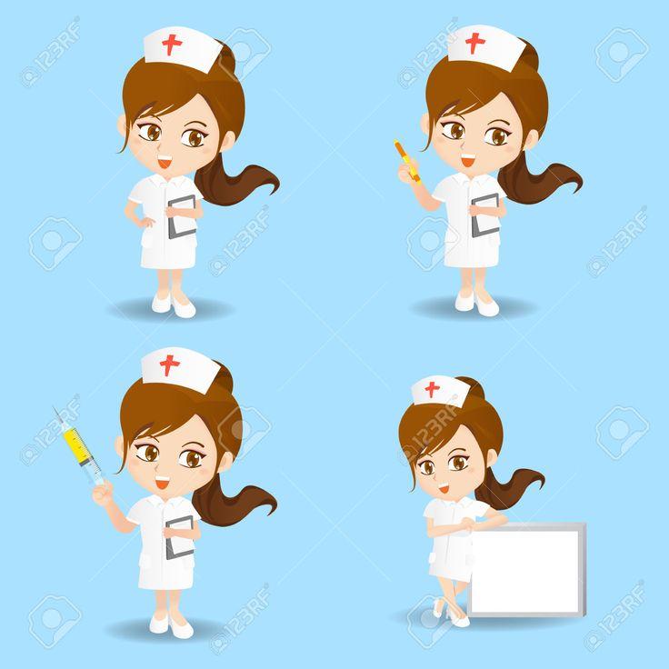 Jogo Dos Desenhos Animados Da Mulher Enfermeira Em Diferentes Poses. Royalty…