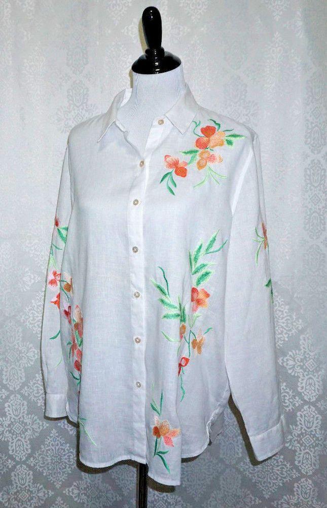 J Jill Womens Sz M 100 Linen White Blouse Shirt W Floral