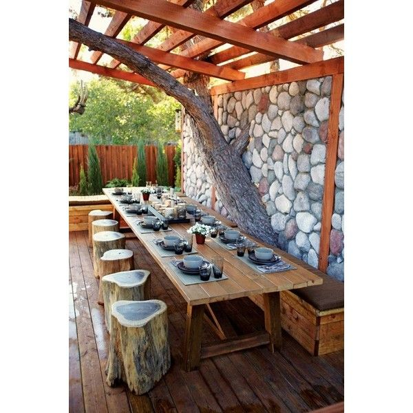 Family Living 9 Backyard DIY's ❤ liked on Polyvore featuring house, home, rooms, places and pictures