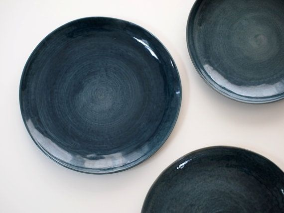 stoneware plates dinner set glazed in dark blue ceramic plate blue blue pottery dishes