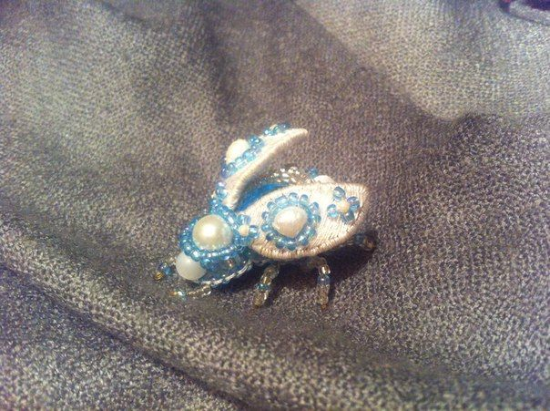 Beetle brooch, embroidery