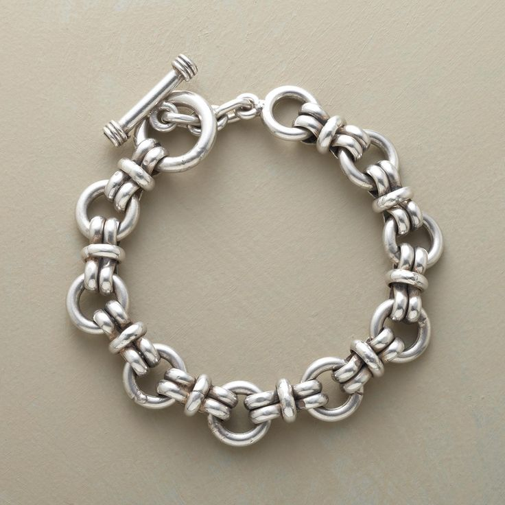 """SUPER LINK BRACELET--Bold and beautiful, our weighty sterling silver bracelet is a stylish statement piece for both women and men. Toggle closure. Handcrafted in Mexico. Sizes S (7-1/2"""") and L (8-1/2"""")."""