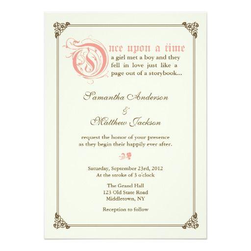 storybook fairytale wedding invitation pink - Fairy Tale Wedding Invitations