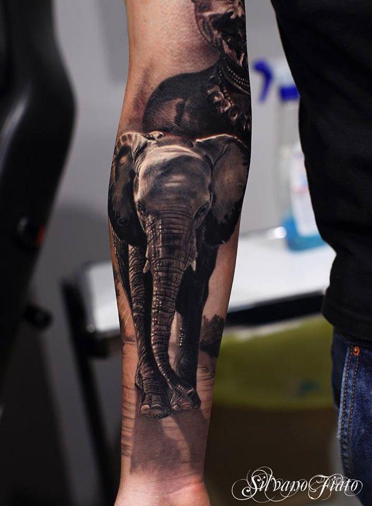 Realistic Elephant Tattoo.
