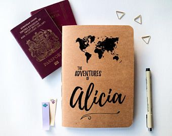 Personalised Travel Journal // Travel Journal with World Map and Custom Name Design // Adventure Notebook // Travel Gift Idea // Blank A5