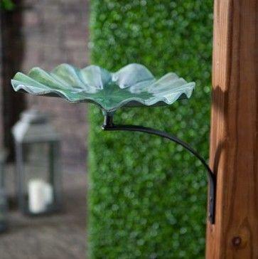 Lily Leaf Bird Bath with Wall Mount Bracket - modern - bird baths - Hayneedle