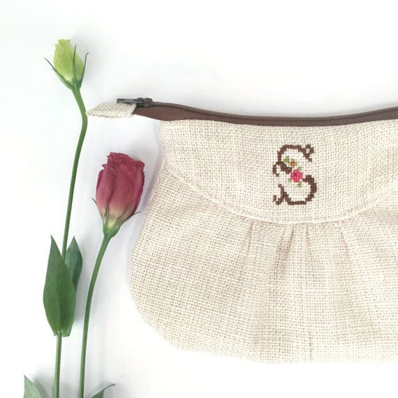 Linen Purse Monogram Zipper Pouch Personalised by OneBusySloth