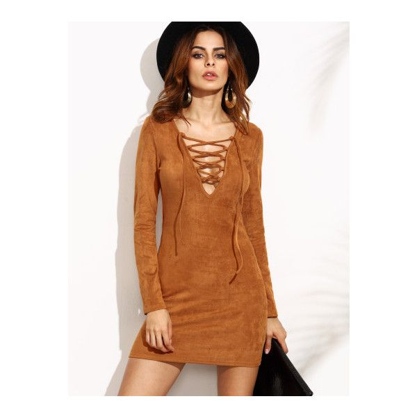 SheIn(sheinside) Camel Faux Suede Lace Up V Neck Bodycon Dress ($17) ❤ liked on Polyvore featuring dresses, camel, brown bodycon dress, mini dress, brown dress, sexy mini dress and long sleeve v neck dress