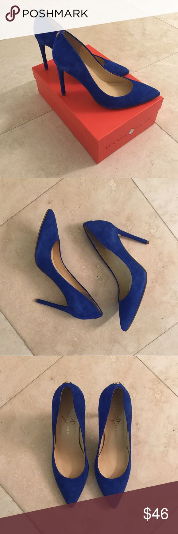 """Blue Suede Pumps by Ivanka Trump Blue suede pumps by Ivanka Trump in almost new condition. Insoles and fabric are pristine; soles show a little wear.   Heels measure approximately 4.25"""" in height. Pumps come with the original box.  Thanks for browsing my closet! Ivanka Trump Shoes Heels"""