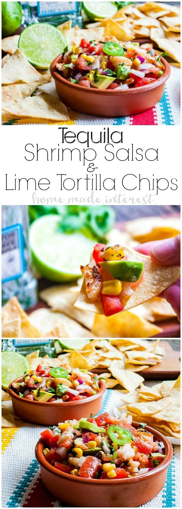 Tequila Shrimp Salsa with Tequila Lime Chips | This fresh salsa with grilled tequila shrimp is a perfect appetizer recipe for Cinco de Mayo. Tequila Shrimp Salsa with Tequila Lime Chips is made with fresh tomatoes, onions, jalapenos and cilantro tossed with grilled tequila shrimp. If you're looking for a summer salsa recipe for your next bbq you'll love this homemade salsa recipe! AD