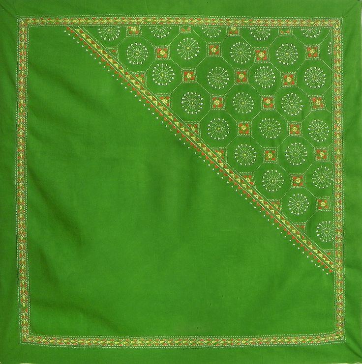 Green Head Scarf with Kantha Stitch (Cotton Cloth)