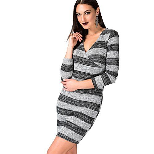 #Fashionic Women's #Striped #Grey & #Black #Long #Sleeve #Stretchy #Party #Club #Night Out #Dress Cotton & Spandex #Long #Sleeve, V-Neck, #Striped, Strectchy, Comfortable Suitable for Evening Occasion, #Night Out, #Party, #Club, Cocktail https://boutiquecloset.com/product/fashionic-womens-striped-grey-black-long-sleeve-stretchy-party-club-night-out-dress/
