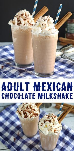 This adult Mexican chocolate milkshake recipe is a delicious blend of chocolate, cinnamon, chipotle chile powder and Cafe Patron!   honeyandbirch.com #cocktail