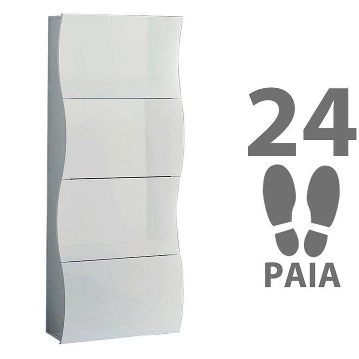 Scarpiera 4 ante 71x28xh162 cm in legno bianco laccato ONDA 24 paia in Kit di Montaggio | Tecnos Arredamento | Stilcasa.Net: scarpiere e portascarpe